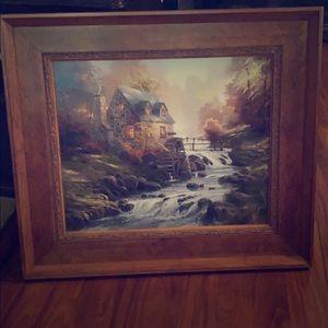 Thomas Kincaid Painting - Cobblestone Mill